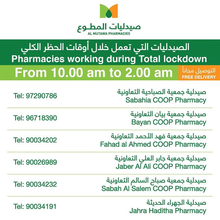 Al-Mutawa Pharmacies Operating during the Full Curfew