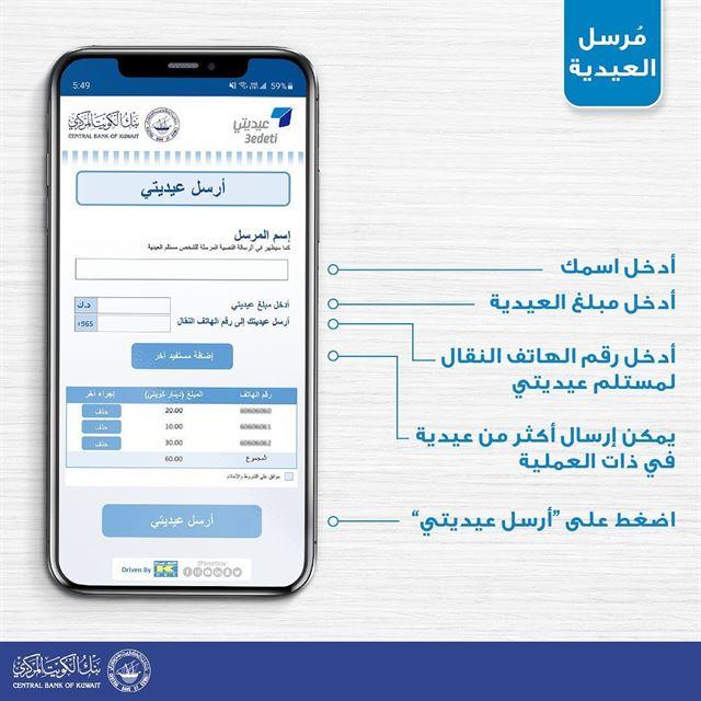 بنك الكويت المركزي يطلق خدمة ارسال العيدية عن بعد